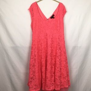 Salmon Colored Lace Party Dress